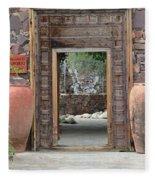 Wider Shot Stone Garden Wall And Clay Urns Fleece Blanket
