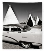 Wigwam Motel Classic Car #2 Fleece Blanket