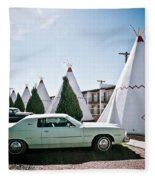 Wigwam Motel Classic Car #3 Fleece Blanket