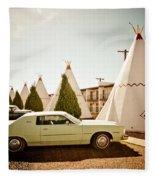 Wigwam Motel Classic Car #4 Fleece Blanket