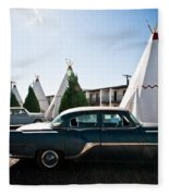 Wigwam Motel Classic Car #5 Fleece Blanket