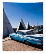 Wigwam Motel Classic Car #6 Fleece Blanket