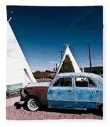 Wigwam Motel Classic Car #7 Fleece Blanket