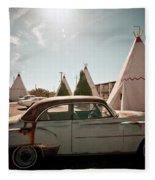 Wigwam Motel Classic Car #8 Fleece Blanket
