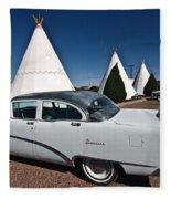 Wigwam Motel Classic Car Fleece Blanket