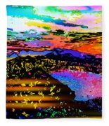 Wild And Crazy Mountainous Sunset Fleece Blanket