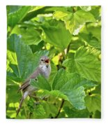 Wild Bird In A Currant Bush. Fleece Blanket