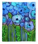 Wild Blue Poppies Fleece Blanket