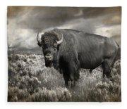Wild Buffalo In Yellowstone Fleece Blanket