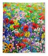 Wild Flower Meadow Fleece Blanket
