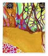 Wild Flowers Abstract Art - Sharon Cummings Fleece Blanket