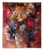 Wild Flowers Bouquet In A Terracota Vase Fleece Blanket