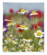 Wild Flowers Field Nature Spring Scene Fleece Blanket