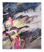 Wild Geese Flying In A Snow Storm Fleece Blanket