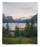 Wild Goose Island Sunset - Glacier National Park Montana Fleece Blanket