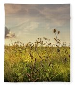 Wild Grass And A Lonely Cloud Fleece Blanket