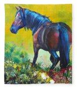 Wild Horse On Dartmoor - Roaming Free Fleece Blanket