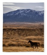 Wild Horse On The Run Fleece Blanket