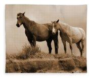 Wild Horses In Western Dakota Fleece Blanket