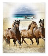 Wild Horses On The Beach Fleece Blanket