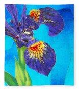 Wild Iris Art By Sharon Cummings Fleece Blanket