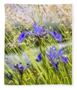Wild Irises Fleece Blanket