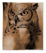Wild Owl Eyes Fleece Blanket