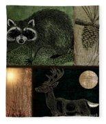 Wild Racoon And Deer Patchwork Fleece Blanket