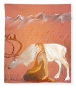 Wild Reindeer And Young Woman Becoming Friends - Poetic Painting Fleece Blanket