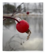 Wild Rose Hip On Mississippi River Bank Fleece Blanket