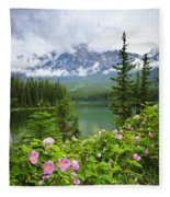 Wild Roses And Mountain Lake In Jasper National Park Fleece Blanket