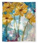 Wild Sunflowers- Art By Linda Woods Fleece Blanket
