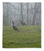 Wild Turkey Grazing At Dawn Fleece Blanket