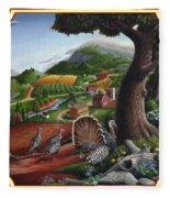 Wild Turkeys In The Hills Country Landscape - Square Format Fleece Blanket
