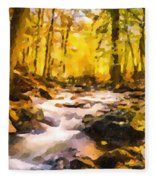 Wild Waterfalls Flowing Through A Forest Fleece Blanket