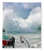Wild Waves In Cornwall Fleece Blanket