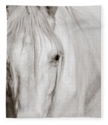 Wild White Horse Fleece Blanket