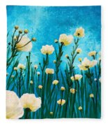 Poppies In The Blue Sky Fleece Blanket