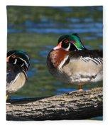 Wild Wood Ducks On A Log Fleece Blanket