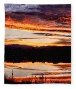 Wildfire Sunset Reflection Image 28 Fleece Blanket