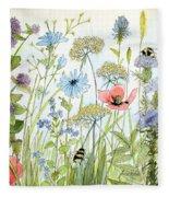 Wildflower And Bees Fleece Blanket
