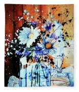 Wildflowers In A Mason Jar Fleece Blanket