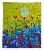 Wildflowers Meadow Sunrise Fleece Blanket