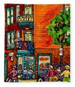 Wilensky Diner Little League Expo Kids Baseball Painting Montreal Scene Canadian Art Carole Spandau  Fleece Blanket