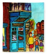 Wilensky's Counter With School Bus Montreal Street Scene Fleece Blanket