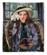Wilhelmine With Ball 1915 Fleece Blanket