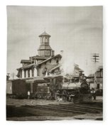 Wilkes Barre Pa. New Jersey Central Train Station Early 1900's Fleece Blanket
