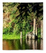 Willamette River Reflections 3783 Fleece Blanket