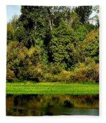 Willamette River Reflections 3813 Fleece Blanket
