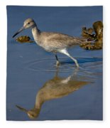 Willet Searching For Food In An Oyster Bed Fleece Blanket